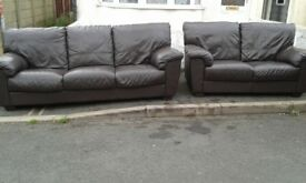 3 + 2 DFS Brown leather sofa set ^Delivery^