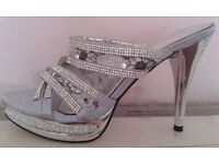 Silver Backless Heels, size 6