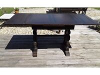 DRAWER LEAF TABLE OAK JAMES PHILLIPS AND SONS LTD REFECTORY SHAPE SOUND AND SOLID PRETTY LEGS