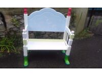 handmade upcycled painted childrens garden seat, with welly boot feet