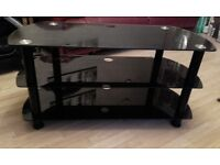 Black glass 3 tier tv stand/unit