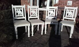 4 x shabby chic dining chairs