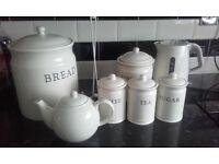 kitchen ware crockery set kettle bread bin tea coffee ect,