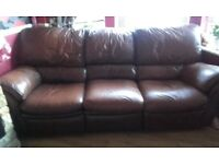 2+3 brown leather reclining sofas