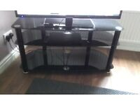 Large Black Glass 3 Tier TV Stand . VERY LOCAL Delivery Possible .