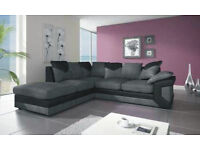 LARGE DINO JUMBO CORD BLK/GRY CORNER SOFA + FREE FOOTSTOOL |1 YEAR WARRANTY |EXPRESS DELIVERY ALL UK
