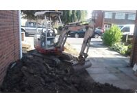 1.5 ton mini excavator/digger with driver for hire. Weekdays/Weekends