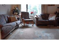 Scan design 3 piece suite: 3 seat and 2 seat sofas plus chair