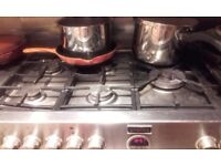 Stoves stainless steel dual fuel range cooker - very dirty sold as seen, working.