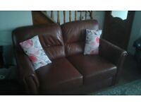 Brown real leather sofa & chair