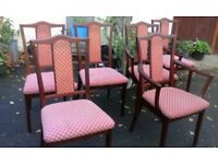 Retro 6 solid mahogany dining chairs consist of 2 open arm elbow chairs. Nathan Furniture, 1960's.