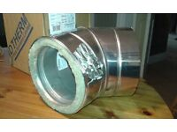 Flue pipe, twin wall stainless steel 45 deg' elbows. 125mm int' diameter