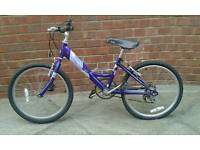 Purple Raleigh mountain bike