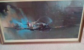 Guilt frame print of a spitfire