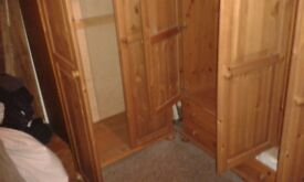 Beautiful solid pine triple and singl wardrobes with storage boxes