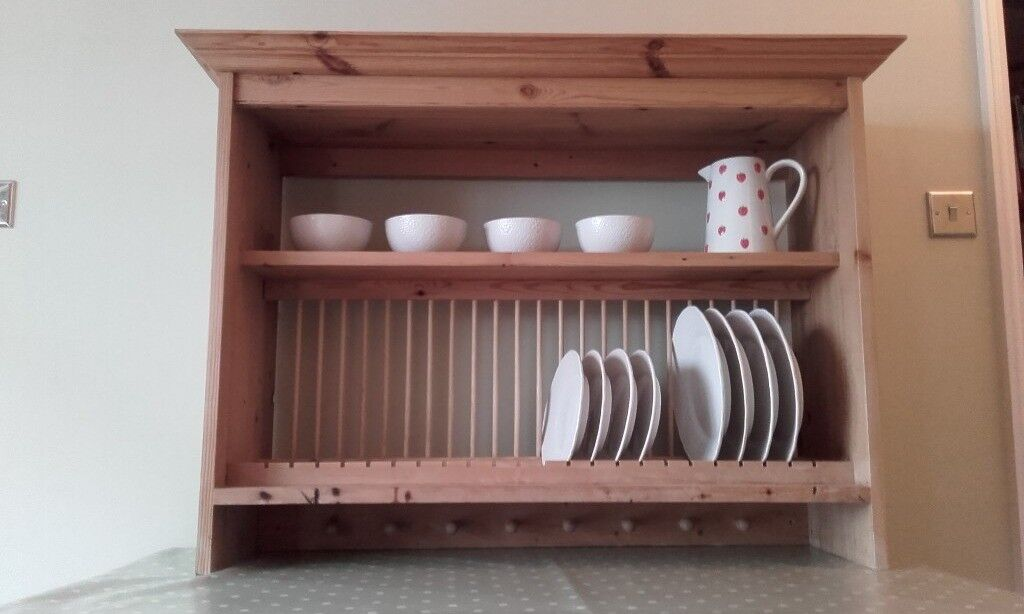 traditional large wooden plate rack wall mounted in woking surrey gumtree. Black Bedroom Furniture Sets. Home Design Ideas