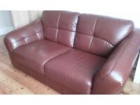 Two 2 seater leather sofas (dark brown)