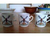 Kronester Bavaria 6 Coffee Cup & Saucers cross stitch windmill