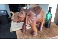 large wooden african pine elephant