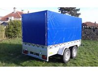 New car trailer twin axle with brakes and cover 10 x 5 2700 kg