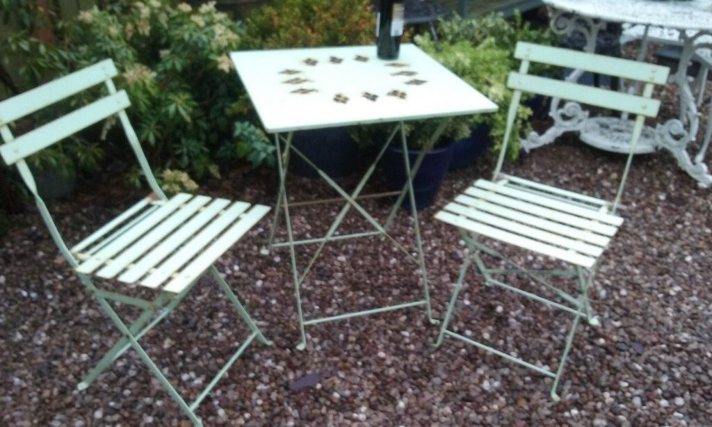 Vintage Retro French Folding Metal Bistro Cafe Patio