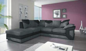 DINO JUMBO CORD BLK/GRY CORNER + FOOTSTOOL or 3+2 SOFA | 1 YEAR WARRANTY | UK EXPRESS DELIVERY