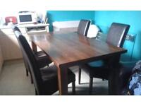 oak table and 4dining chairs collection only