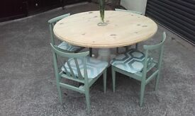 pine round dining table & choice of chairs red or green