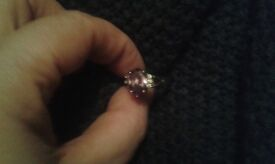 White gold 3ct amethyst and diamond ring
