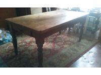 VERY RUSTIC RECLAIMED PINE FARMHOUSE TABLE WITH DRAWER
