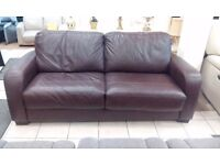 Full Leather Brown Spring action Sofa Bed For Sale