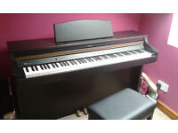 Roland digital piano. HP102e. on stand. Excellent condition. Mahogany wood effect.
