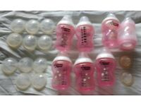 tommee tippee, MAM and superdrug bottles in pink