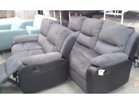 New 3+2 Corded Fabric sofas with leather trimmings Recliner setee