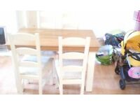 Cream and oak dining table and 4 chairs