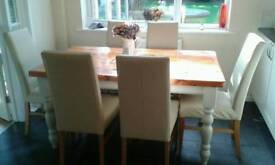 6 x John Lewis Cream Italian Leather Vanessa Dining Chair Set (would be £900 new!)