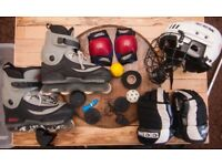 Skates and hockey equiptment