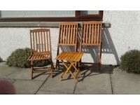 Folding hardwood garden chairs and small table