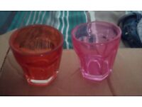 20 small Orange and Pink glasses (large shot size)