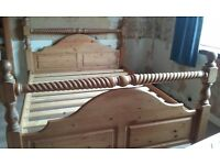 King size antique pine bed frame.85×65inches.£100 o.n.o.Buyer collect.