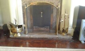 Brass coal scuttle, companion set, fireguard