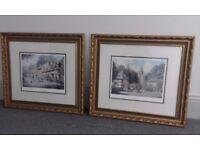 2 large framed pictures