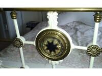 CAST IRON DOUBLE BED..... FRAME & MATTRESS. Antique white iron frame. Size: 4' 6''. Sturdy.