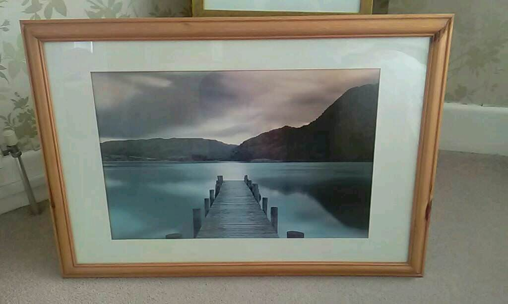 Pine framed large picture of lake