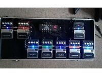 SET OF 8 DIGITECH HARDWIRE TRUE BYPASS EFFECTS PEDALS WITH POWER SUPPLY AND CASE