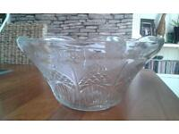 Glass Punch Bowl & 12 glasses