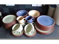 Denby Juice Tableware, 41 pieces assorted colours berry blue, juice lemon & apple green, seldom used