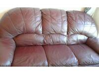 Sofe, Brown leather, 3 seater sofa