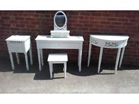 White shabby chic bedroom furniture. £100 for the set or neg for individual items. Collect only