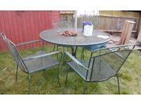 DECORATIVE METAL PATIO TABLE AND 3 CHAIRS WITH UMBRELLA